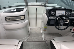 Folding Wind Dam of the 2021 Crownline 255 SS Bowrider Boat
