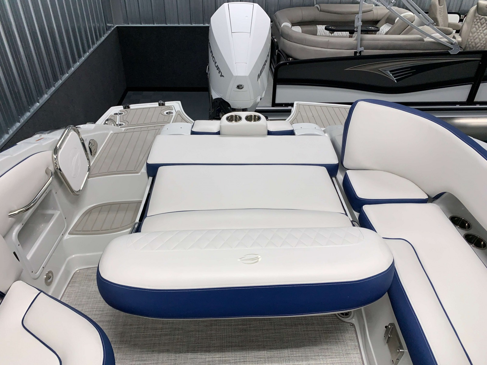 Rear Bed Lounge of the 2021 Crownline 255 XSS Bowrider Boat