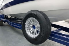 Spare Tire and Holder of the 2021 Crownline 255 XSS Bowrider Boat