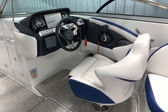 Drivers Helm of the 2021 Crownline 265 SS Bowrider Boat