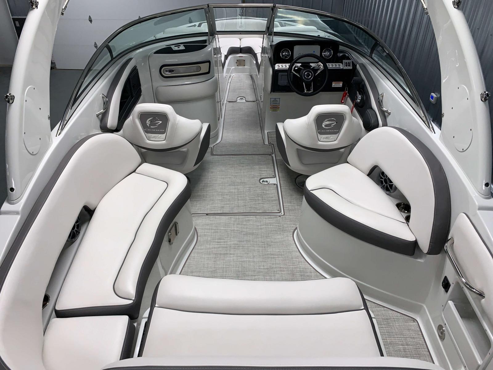 Snap-In Weave Vinyl Flooring of the 2021 Crownline 270 XSS Bowrider Boat