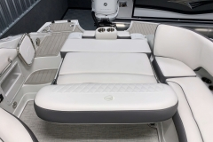 Rear Electric Sun Lounge Seat of the 2021 Crownline 270 XSS Bowrider Boat