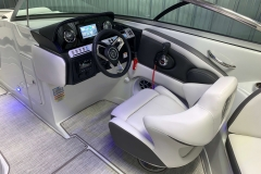 Black Accented Helm of the 2021 Crownline 270 XSS Bowrider Boat