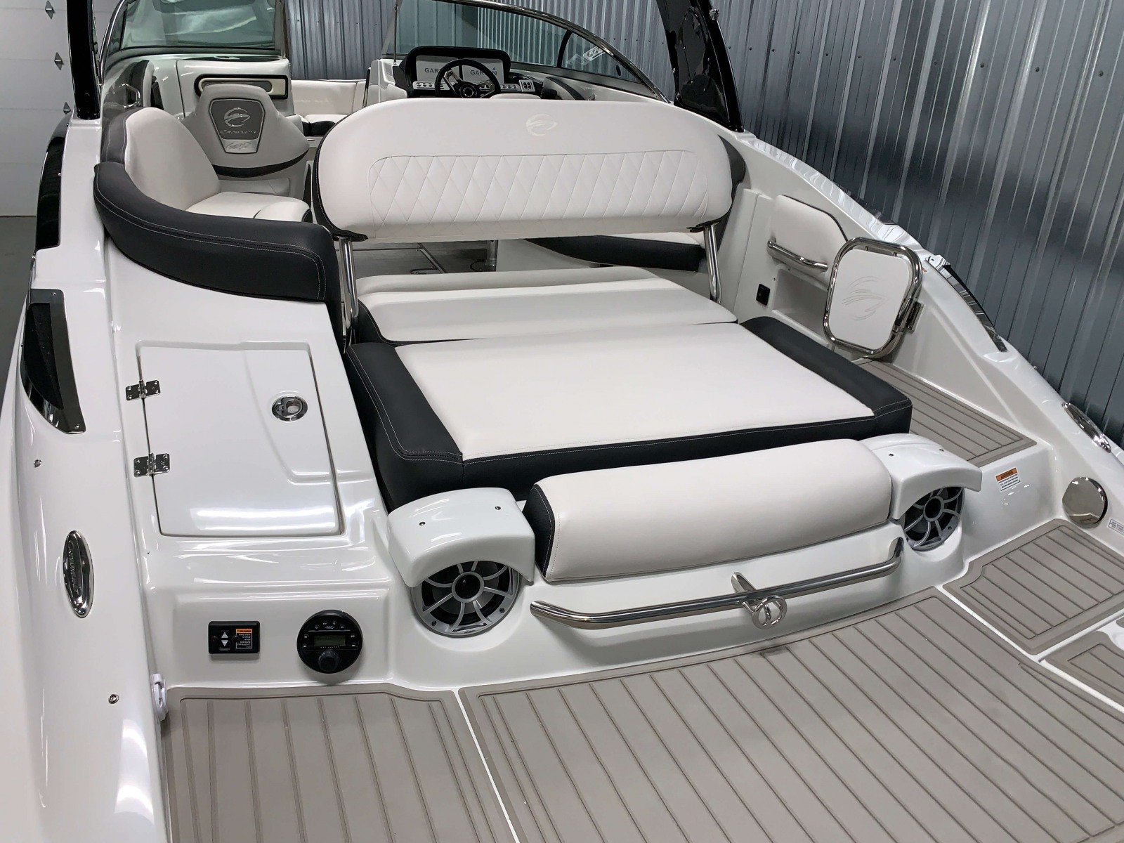 Rear Facing Sun Lounge of the 2021 Crownline 280 SS Bowrider Boat
