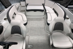 Snap-In Wooven Vinyl Flooring of the 2021 Crownline 280 SS Bowrider Boat