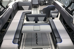 Convertible Rear Facing Bench Seat on the 2021 Moomba Max Wake Boat