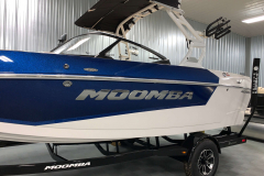 Raised Chrome Logo on the 2021 Moomba Mondo Wake Boat