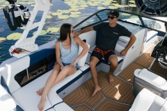 Removable Rear Facing Seats of the 2022 Nautique 210 Wake Boat