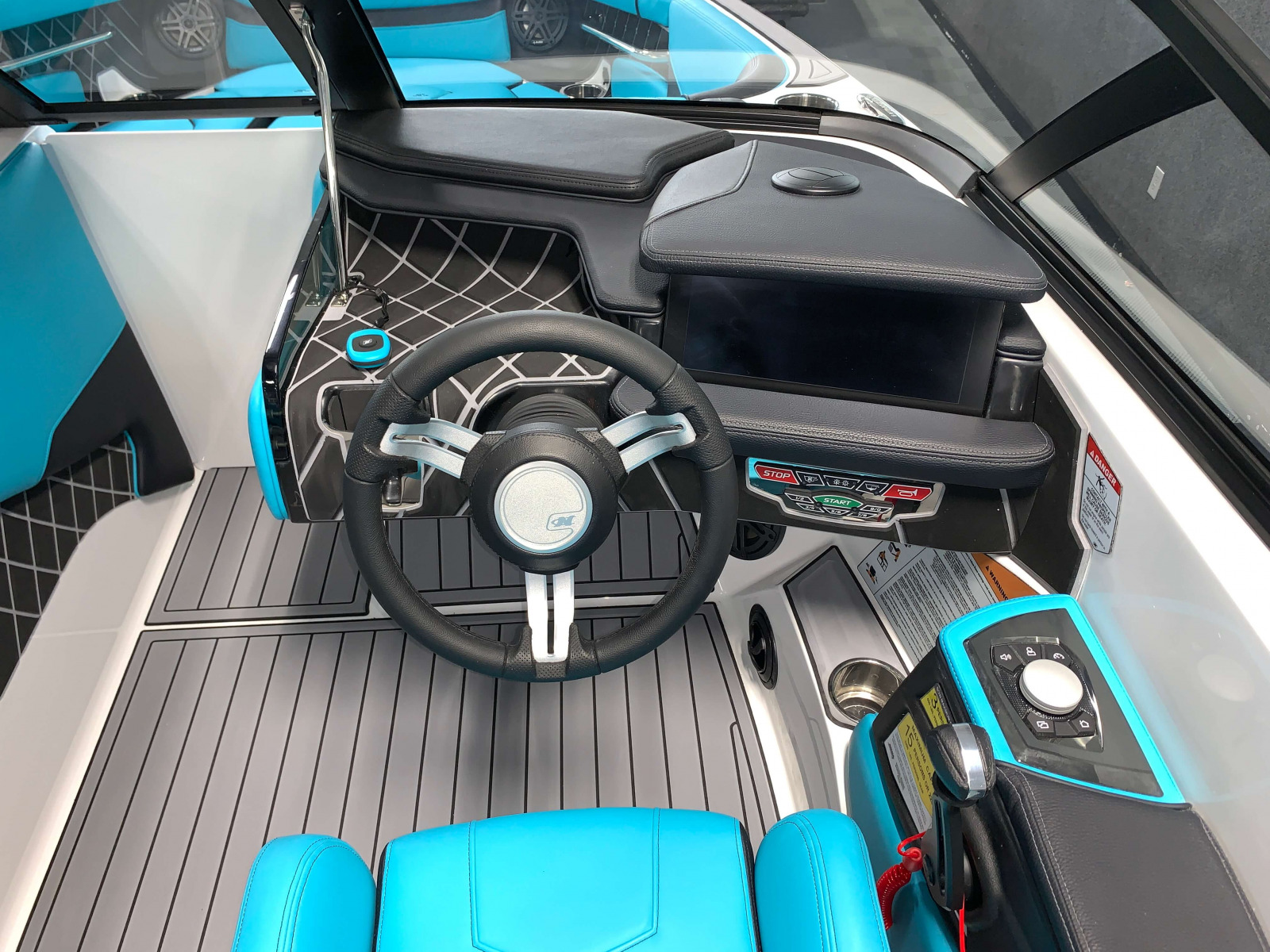 Helm of the 2021 Nautique GS22 Wake Boat