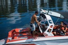 Wakeboard and Wakesurf Storage of the 2022 Nautique G23 Wake Boat