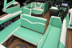 New Glo Green Interior on the 2022 Nautique G25 Wake Boat