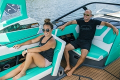 Pop-Up Rear Facing Seat of the 2022 Nautique G25 Wake Boat