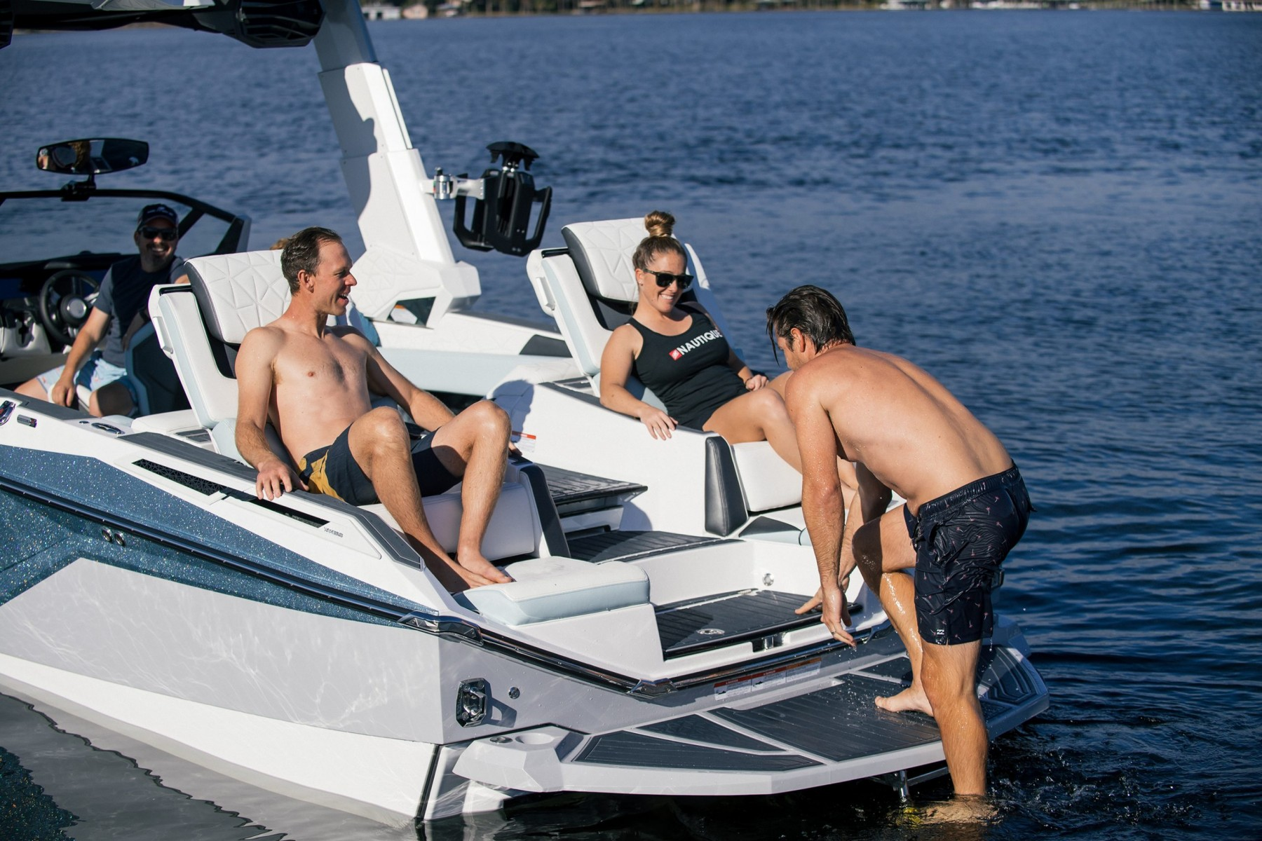 Convertible Transom Seats of the 2022 Nautique G25 Paragon Wake Boat