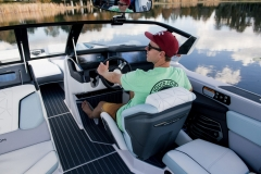 Helm of the 2022 Nautique G25 Paragon Wake Boat