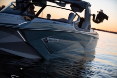 Steel Blue Flake on the 2022 Nautique G25 Paragon Wake Boat
