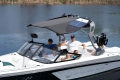 Bimini Top with Surf Board Pockets on a 2022 Nautique GS20 Wake Boat