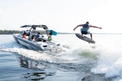 Wake Surfing Behind a 2022 Nautique GS20 Wake Boat