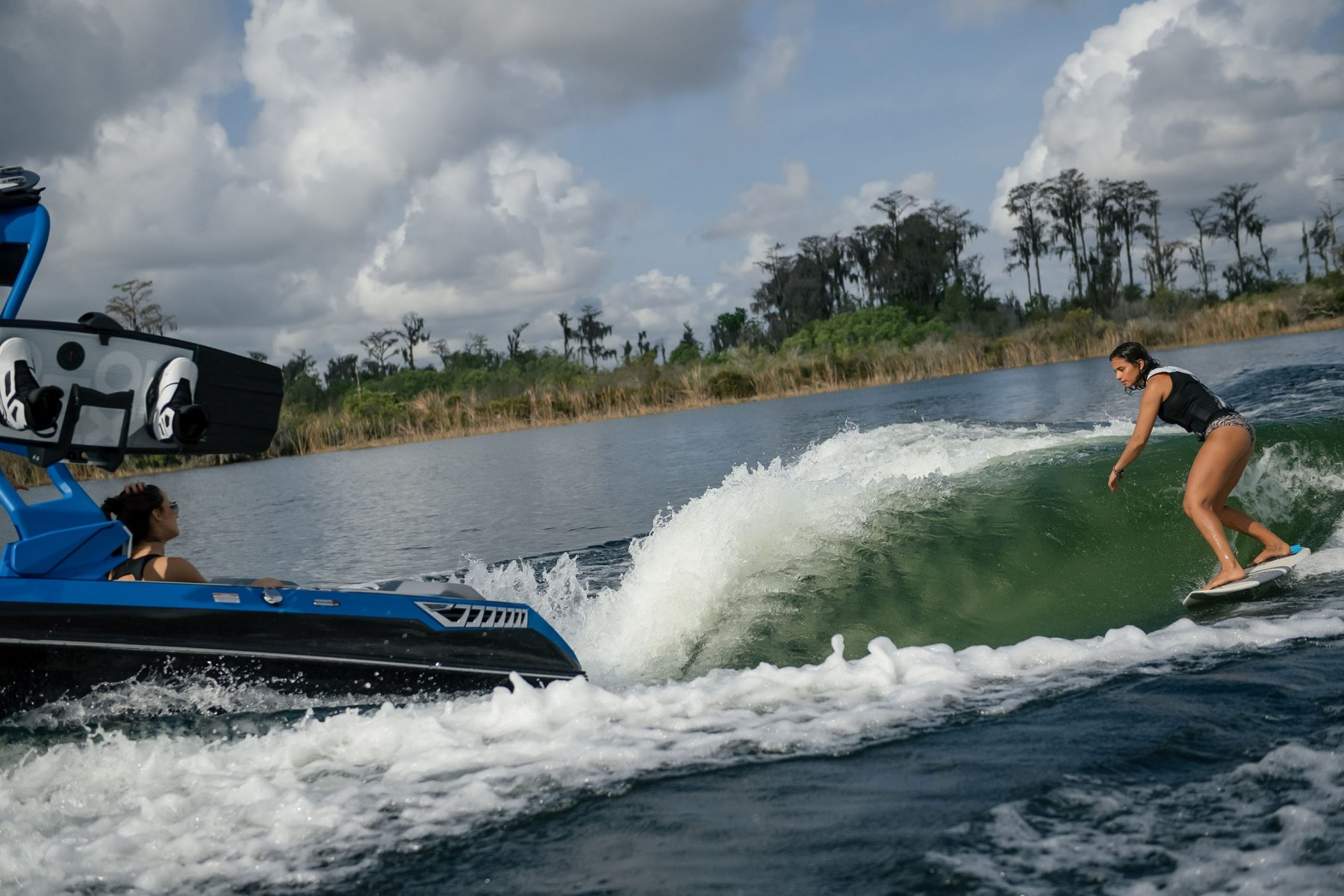 Surf Wave Behind a 2022 Nautique GS22 Wake Boat