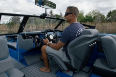 Luxurious Helm of the 2022 Nautique GS22 Wake Boat
