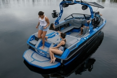 Comfortable Transom Seating on the 2022 Nautique GS22 Wake Boat