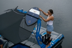 Bimini Top with Surfboard Pockets on the 2022 Nautique GS22 Wake Boat