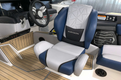 Actuated Helm Seat of the 2021 Nautique G25 Paragon Wake Boat
