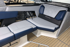 Admiral Blue Seat Boxing on the 2021 Nautique G25 Paragon Wake Boat
