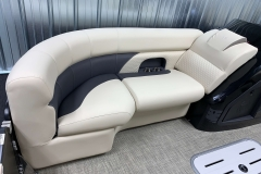 Charcoal Upholstery Accent on the 2021 Premier 230 Sunsation RF Tritoon Boat