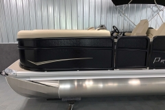 Tan Exterior Graphics on the 2021 Premier 230 Sunsation RF Tritoon Boat