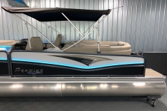 Black and White Exterior on the 2021 Premier 250 Intrigue RF Tritoon Boat