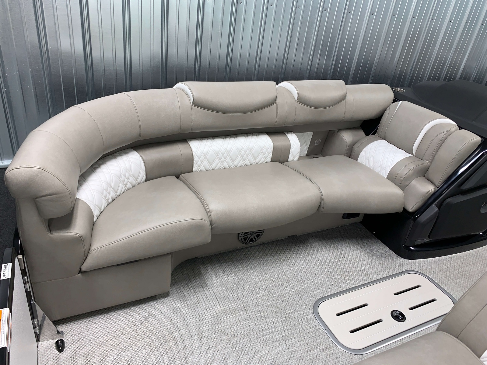 Interior Seating of the 2021 Premier 250 Grand Majestic Tritoon Boat