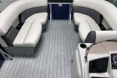 Teak Weave Vinyl Flooring of the 2021 Sylvan 820 LZ Pontoon Boat