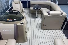Interior Rear Layout of the 2021 Sylvan Mirage 8520 Cruise Pontoon Boat