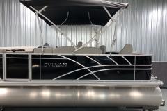 Easy Fold 10' Bimini Top of the 2022 Sylvan Mirage 8520 Party Fish Pontoon Boat