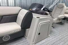 Helm Storage of the 2022 Sylvan Mirage 8520 Party Fish Pontoon Boat