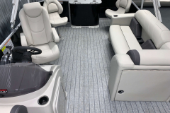 Teak Weave Vinyl Flooring of the 2022 Sylvan Mirage 8520 Party Fish Pontoon Boat
