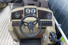 Mirage Series Helm of the Dark Mocha Accented Interior on the 2021 Sylvan 8520 Party Fish Pontoon Boat