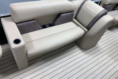 Dark Mocha Accented Interior on the 2021 Sylvan 8520 Party Fish Pontoon Boat
