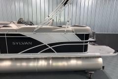 Chrome Sylvan Logo of the 2021 Sylvan L1 Cruise Pontoon Boat