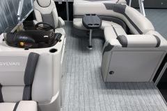 Interior Rear Layout of the 2021 Sylvan L1 Cruise Pontoon Boat