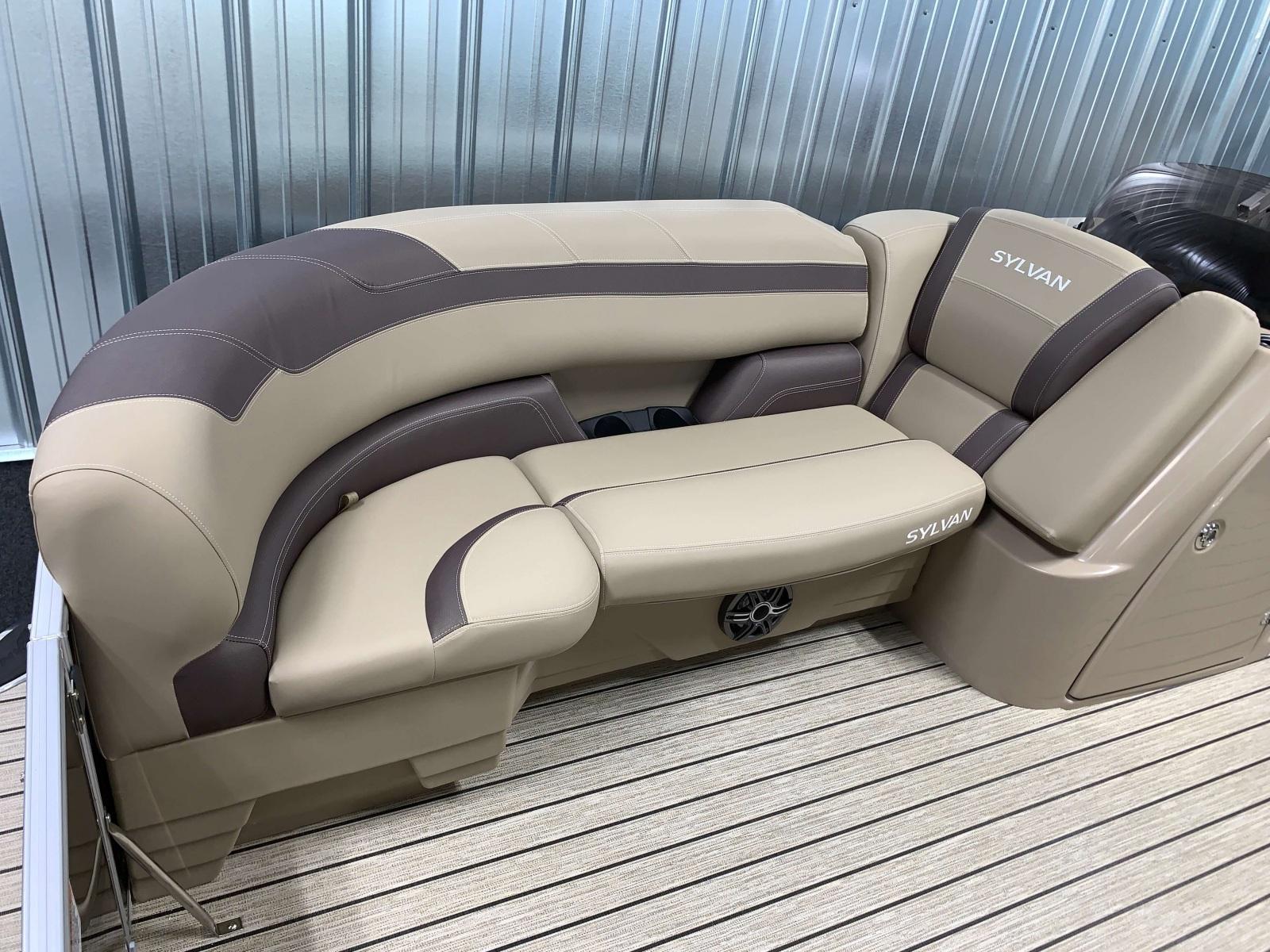 Tan Interior of the 2021 Sylvan L1 Cruise Pontoon Boat