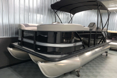 Silver Exterior Accents on the 2021 Sylvan L1 LZ Tritoon Boat