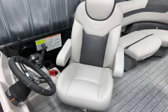 High Back Helm Seat of the 2021 Sylvan L1 LZ Tritoon Boat
