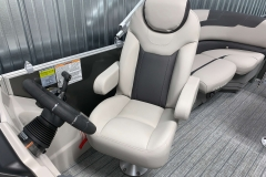 High Back Captain's Chair of the 2021 Sylvan L1 LZ Tritoon Boat