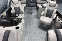 Interior Rear Layout of the 2021 Sylvan L1 LZ Tritoon Boat