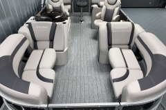 Teak Weave Flooring on the 2021 Sylvan L1 LZ Tritoon Boat