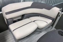 Dark Grey Interior Accent of the 2021 Sylvan L1 LZ Tritoon Boat