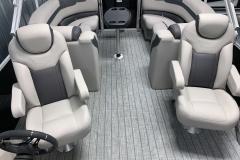 Teak Weave Vinyl Flooring on the 2022 Sylvan L3 LZ Pontoon Boat