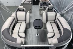 Quad Lounge Layout of the 2022 Sylvan L3 LZ Pontoon Boat