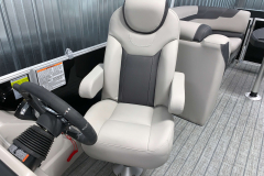 High Back Captains Chair of the 2022 Sylvan L3 LZ Pontoon Boat